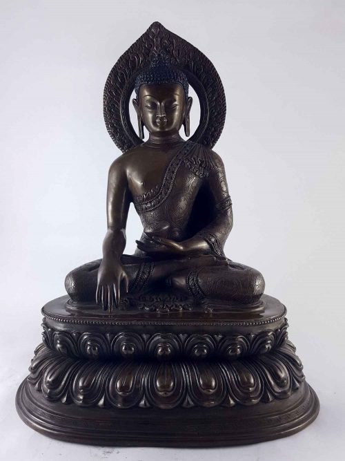 Shakyamuni Buddha Statue Copper with Carving HQ