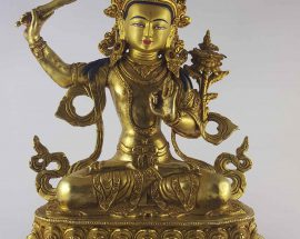 Manjushree Statue Copper with Painted Face and Double Lotus Base