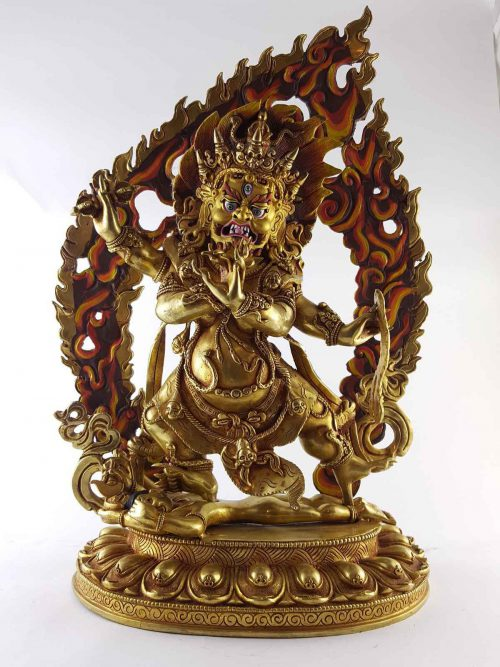 Four Hand Vajrapani Statue Copper Painted Face