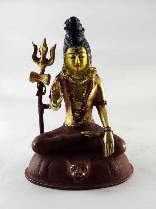 Copper Statue of Shiva Mahadev Painted Face