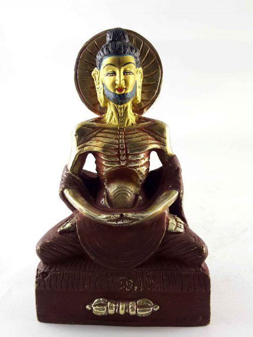 Copper Statue of Fasting Buddha Painted Face