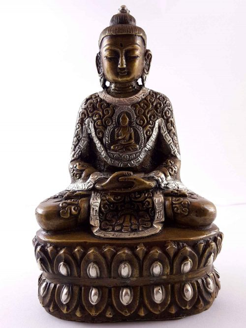 Statue of Amitabha Buddha with Buddha Life Story Carving