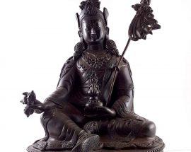 Statue of Padmasambhava Old 100% Copper Natura Patina