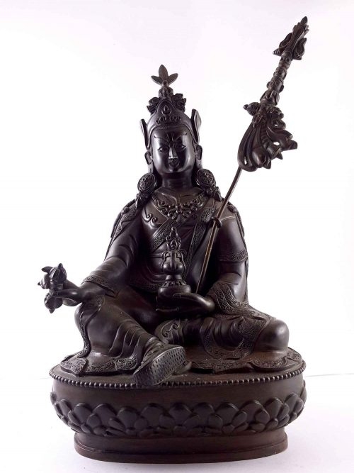 Statue of Padmasambhava Old 100% Copper Natura Patina