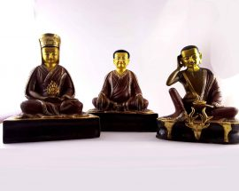 Copper Statue of Marpha Set Marpa  Gampopa Milarepa gold and Gold Painted Face Double Color Oxidation