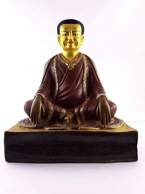 Copper Statue of Marpa Lotsawa gold and Gold Painted Face Double Color Oxidation