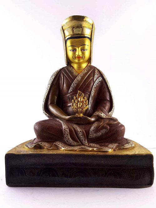 Copper Statue of Gampopa gold and Gold Painted Face Double Color Oxidation