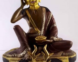 Copper Statue of Milarepa gold and Gold Painted Face Double Color Oxidation