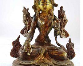 Handmade Statue of White Tara Painted Face