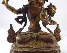 Handmade Statue of Manjushree Painted Face