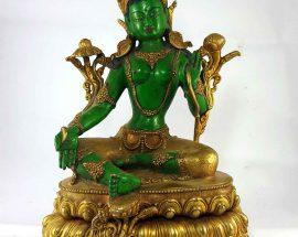 Green Tara Handmade Statue Thangka Color finishing