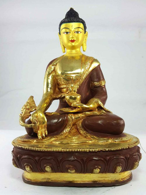 Medicine Buddha Statue Painted Face