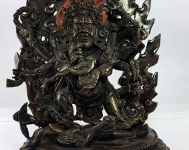 Six Arms Mahakala Statue of Copper