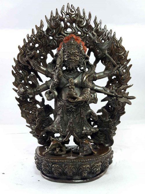 Statue of White Mahakala Copper