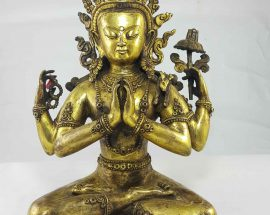 Chenrezig Statue Gull Gold Plated Newari Style