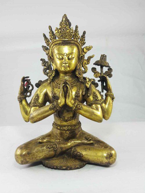 Chenrezig Statue Gull Gold Plated Newari Style