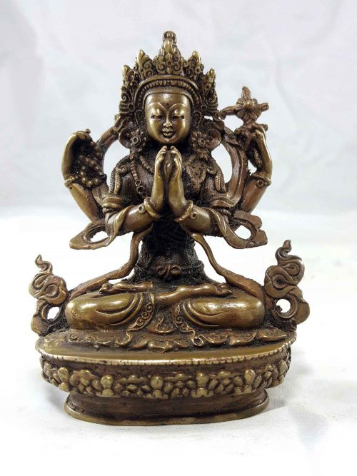 Chenrezig Copper Miniature Statue