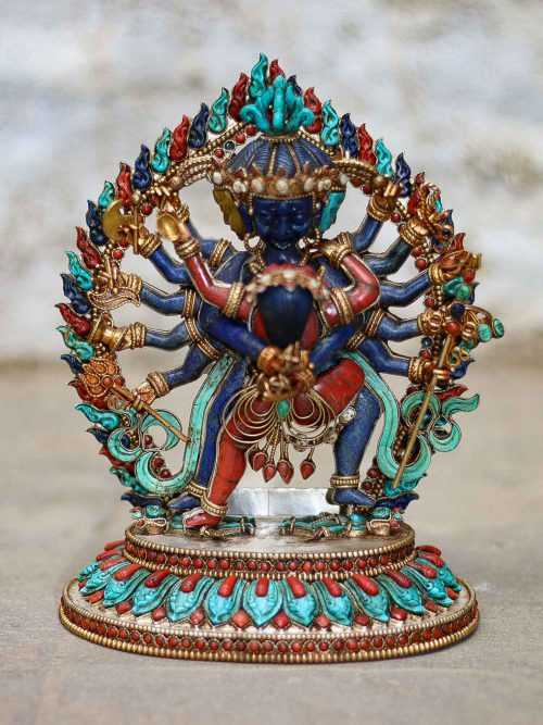 Statue of Chakrasambara Sterling Silver Real Amber Real Lapis Lazuli Real Coral Real Turquoise  Gold Plated Over