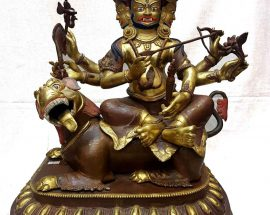 Antique Copper Statue of Gyalpo Nechung Background Fire Missing