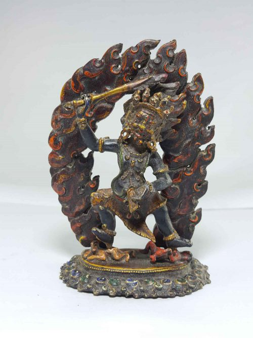 Copper Chandrama Roshan Statue with Thanka Color