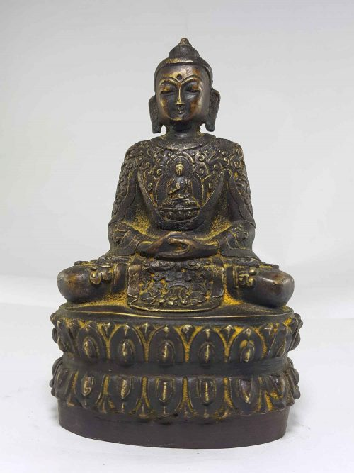 Copper Amitata Buddha Statue and Life Story Carving