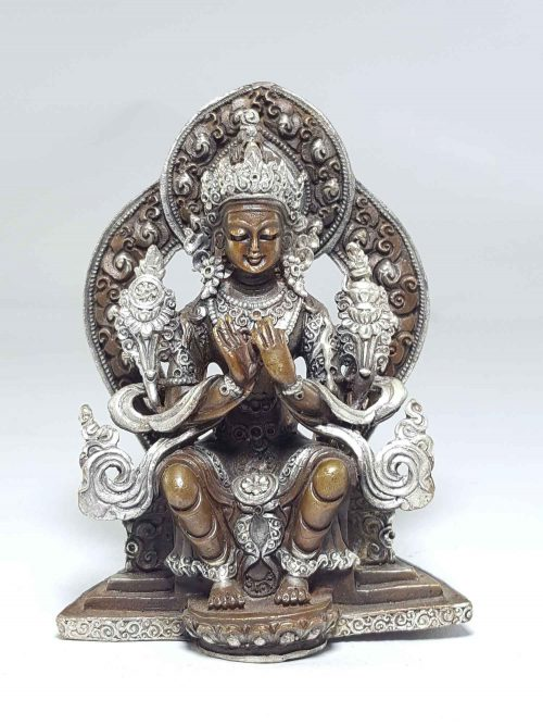 Statue of Maitreya Buddha On A Throne