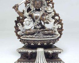 Statue of Manjushree On A Throne