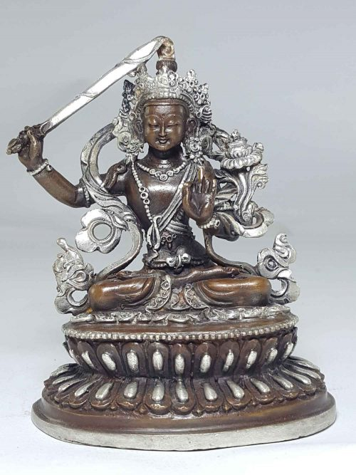 Statue of Manjushree with Double Lotus Base