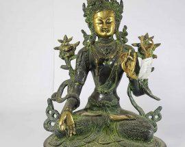 Tibetan White Tara Statue Sand Casting Green