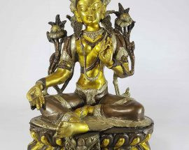 Double Lotus Tibetan Green Tara Statue Sand Casting