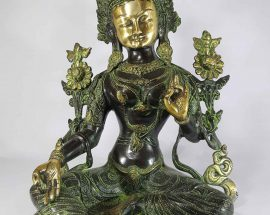 Arya Green Tara Statue Sand Casting Base Less