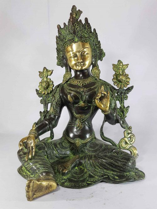 Arya Green Tara Statue Sand Casting Base Less