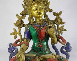 Arya White Tara Statue Sand Casting Stone Setting