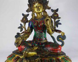 Tibetan Green Tara Statue Sand Casting Stone Setting
