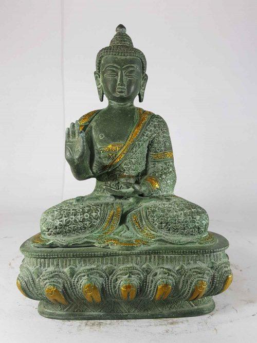 Amoghasiddhi Buddha Statue Sand Casting Green