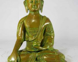 Shakyamuni Buddha Statue Sand Casting Green Antique without Base