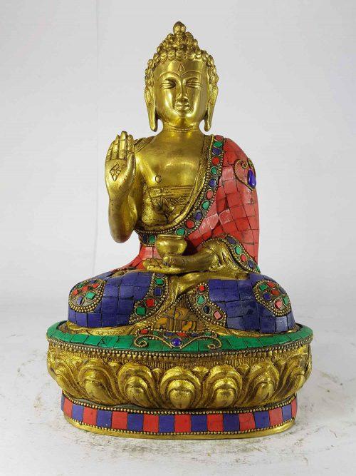 Amoghasiddhi Buddha Statue Sand Casting Stone Setting