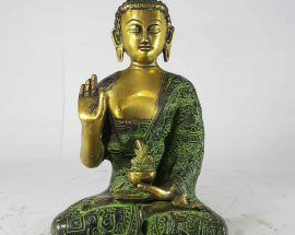Amoghasiddhi Buddha Statue Sand Casting Green Antique without Base