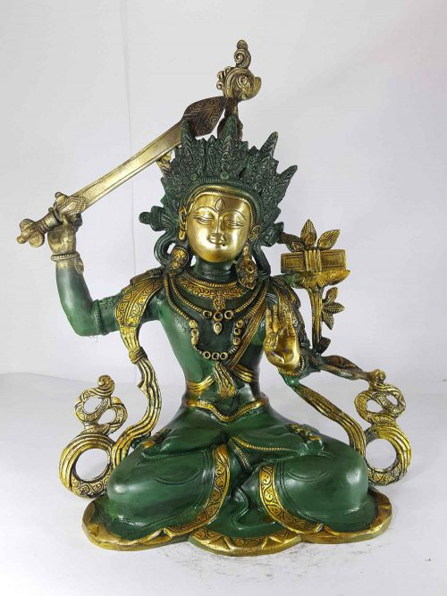 Manjushree Statue Sand Casting Green Painted