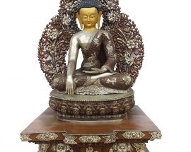 Shakyamuni Buddha Statue On Throne. Oxidisesed