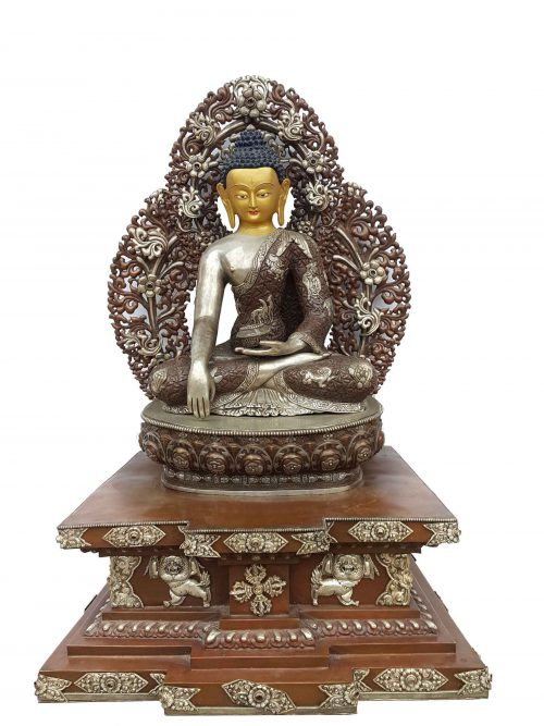 Shakyamuni Buddha Statue On Throne. Oxidisesed