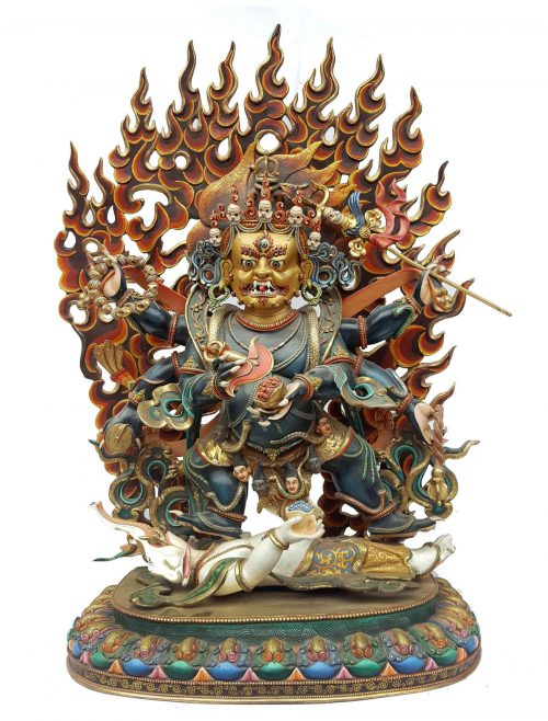 Black Mahakala Statue Real Gold and Thangka Color
