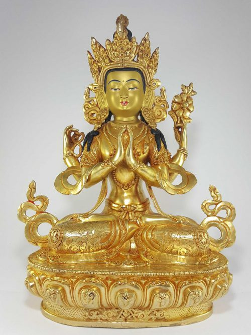 Statue of Chenrezig Khercheri Avalokitesvara Gold Painted Face Deep Hand Carving
