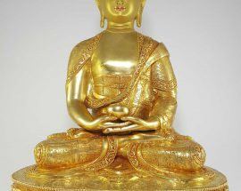 Statue of Amitabha Buddha Gold Painted Face Deep Hand Carving