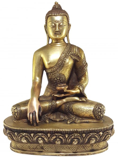 Statue of Shakyamuni Buddha with Carvings and Bronze finishing