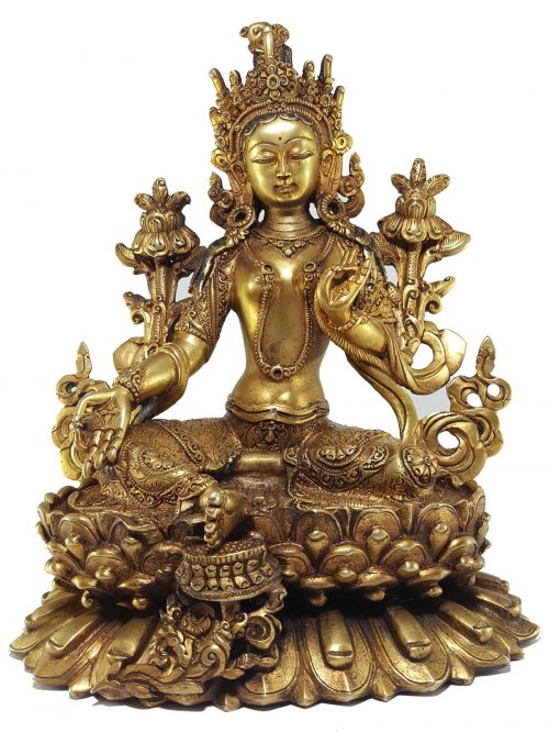 Green Tara Statue and Double Lotus Base