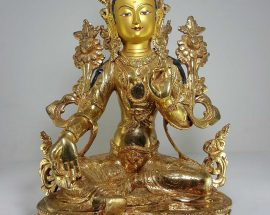 Statue of Green Tara with Painted Face