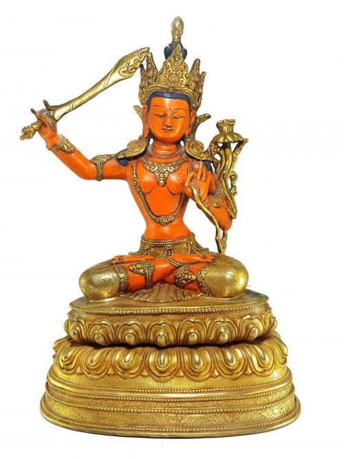 Statue of Manjushree with Thangka Color finishing