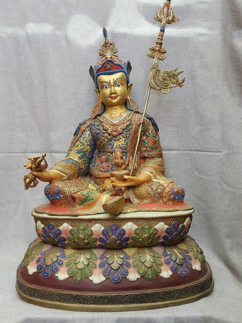 Statue of Padmasambhava Thangka Color finishing