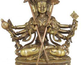 Statue of Sitatapatra White Umbrella Goddess Bronze finishing